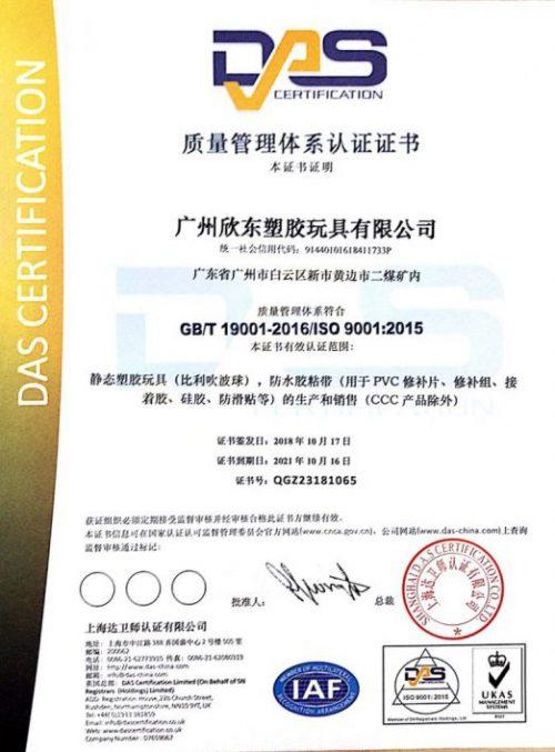 欣东 ISO证书 中文